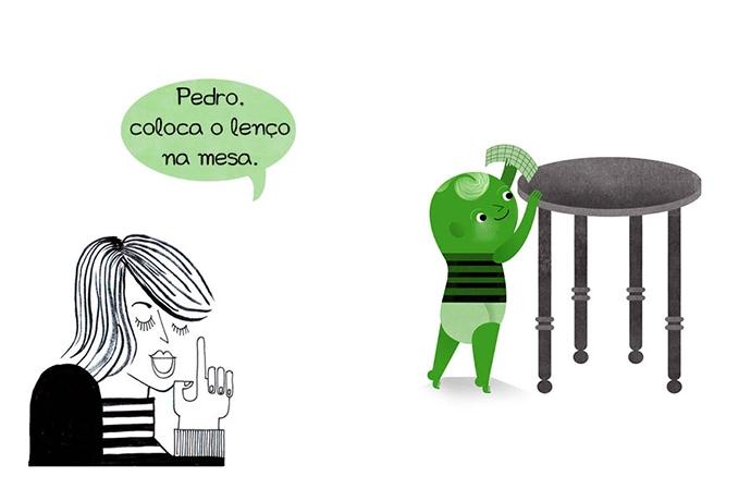 Pedro, coloca o lenço na mesa.
