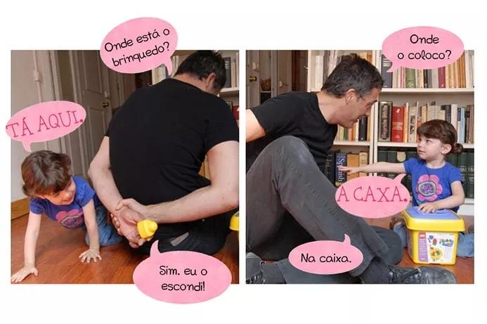 P: Onde está o brinquedo? C: TÁ AQUI. P: Sim, eu o escondi! P: Onde o coloco? C: A CAXA P: Na caixa.