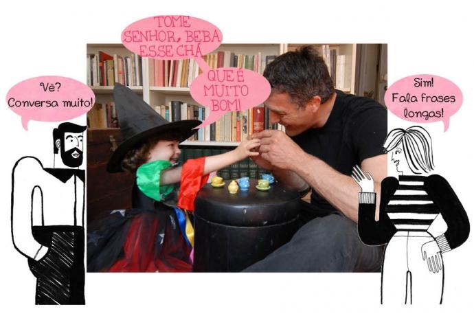 P: Vê? Conversa muito! N: Sim! Fala frases longas. C: Tome senhor, beba esse chá que é muito bom!