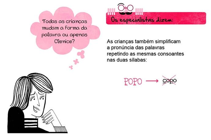 Todas as crianças mudam a forma da palavra ou apenas Clenice? Os especialistas dizem: As crianças também simplificam a pronúncia das palavras repetindo as mesmas consoantes nas duas sílabas: POPO → copo.