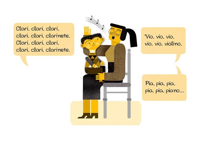 Clari, clari, clari, clari, clari, clarinete. Clari, clari, clari, clari, clari, clarinete. Vio, vio, vio, vio, vio, violino. Pia, pia, pia, pia, pia, piano…