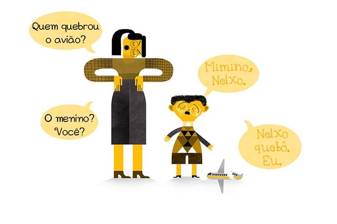 N: Quem quebrou o avião? Né: Mimino, Nelxo. N: O menino? Você? Né: Nelxo quebô. Eu.