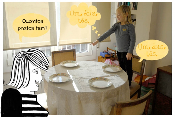 C: Um, dois, tês. N: Quantos pratos tem? C: Um, dois, tês.