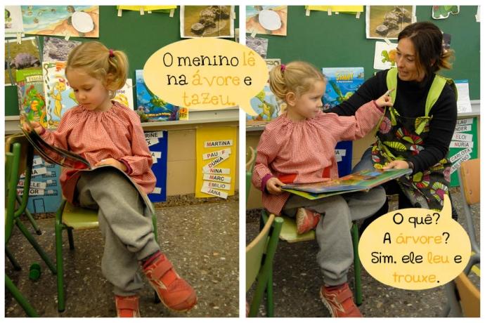 C: O menino lê na ávore e tazeu. Prof.: O quê? A árvore? Sim, ele leu e trouxe.