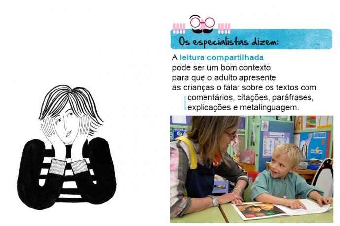 Os especialistas dizem: A leitura compartilhada pode ser um bom contexto para que o adulto apresente às crianças o falar sobre os textos com comentários, citações, paráfrases, explicações e metalinguagem.