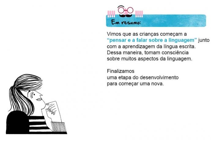 """Em resumo: Vimos que as crianças começam a """"pensar e a falar sobre a linguagem"""" junto com a aprendizagem da língua escrita. Dessa maneira, tomam consciência sobre muitos aspectos da linguagem. Finalizamos uma etapa do desenvolvimento para começar uma nova."""