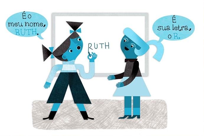 Ruth: É o meu nome, RUTH. Amiga: É sua letra, o R.