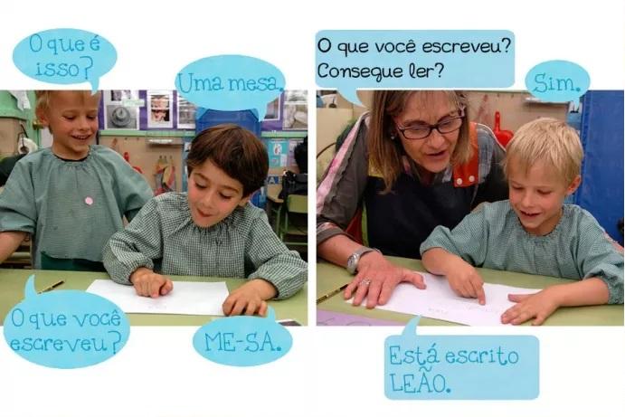 C1: O que é isso? C2: Uma mesa. C1: O que você escreveu? C2: ME-SA. Prof: O que você escreveu? Consegue ler? Menino: Sim. Está escrito LEÃO.