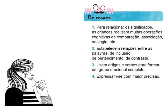Em resumo: 1. Para relacionar os significados, as crianças realizam muitas operações cognitivas de comparação, associação, analogia, etc. 2. Estabelecem relações entre as palavras (de inclusão, de pertencimento, de contraste). 3. Usam artigos e verbos para formar um grupo oracional completo. 4. Expressam-se com maior precisão.